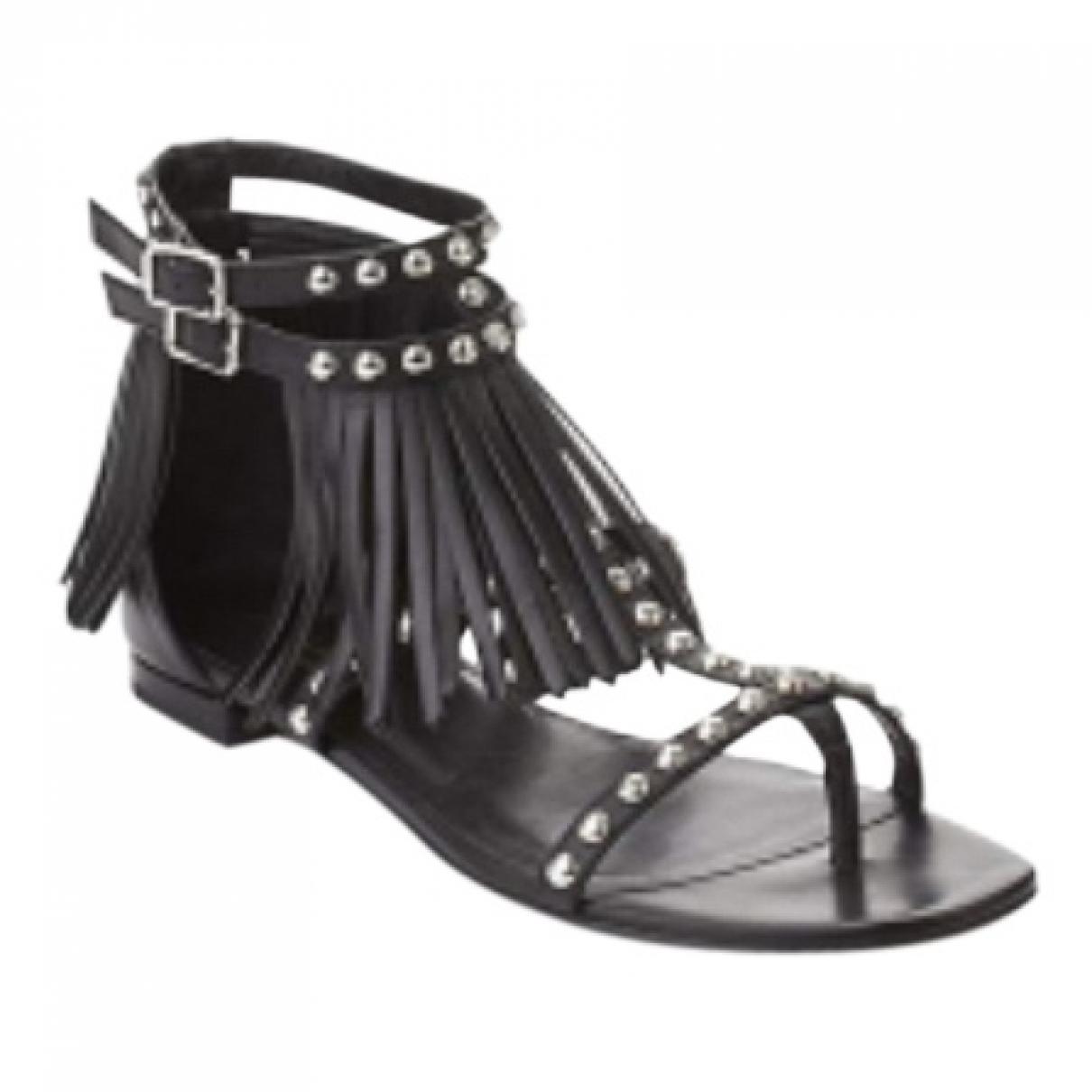 Saint Laurent \N Black Leather Sandals for Women 37.5 EU