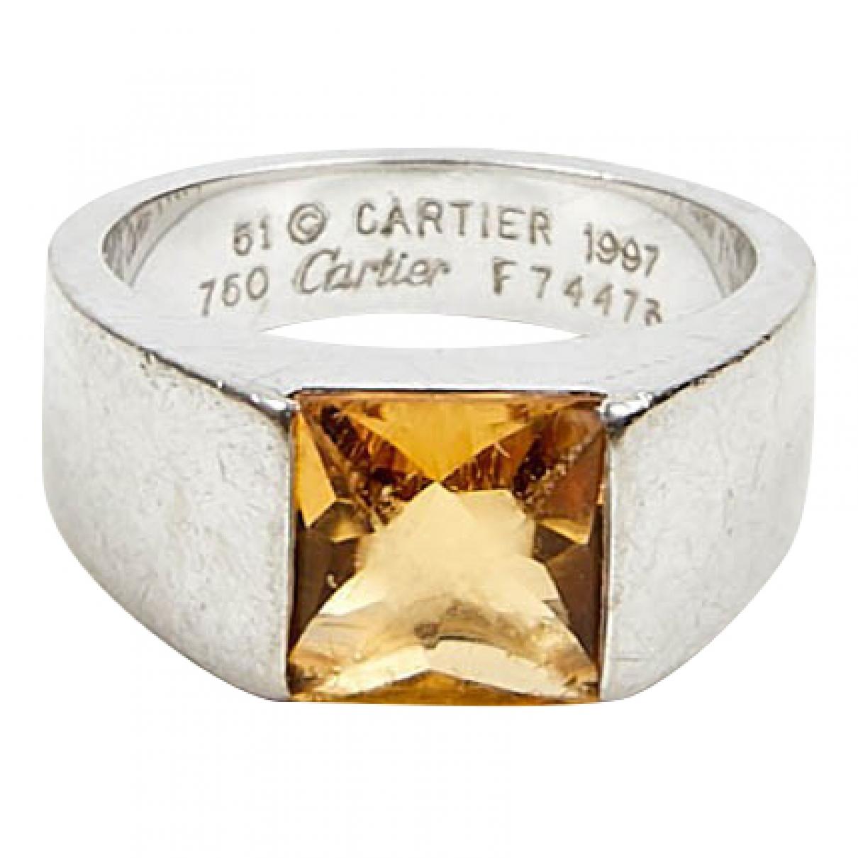 Cartier - Bague Tank pour femme en or blanc - argente