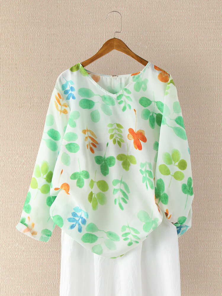 Leaf Printed Long Sleeve V-neck Blouse For Women