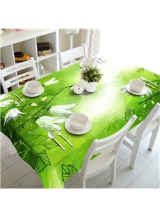 Bright Green Background with White Flowers Decoration Prints Washable 3D Tablecloth