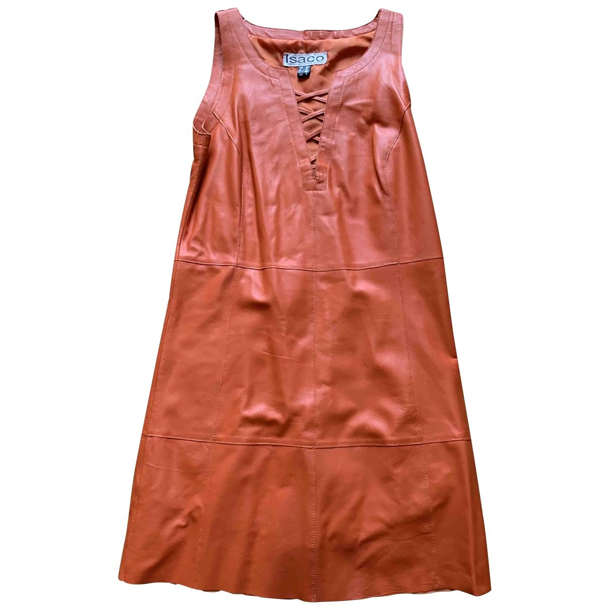 - Robe   pour femme en cuir - orange