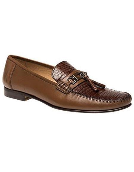 Mens Tan Lizard Skin Slip-on Loafers Leather Shoes Mezlan Brand