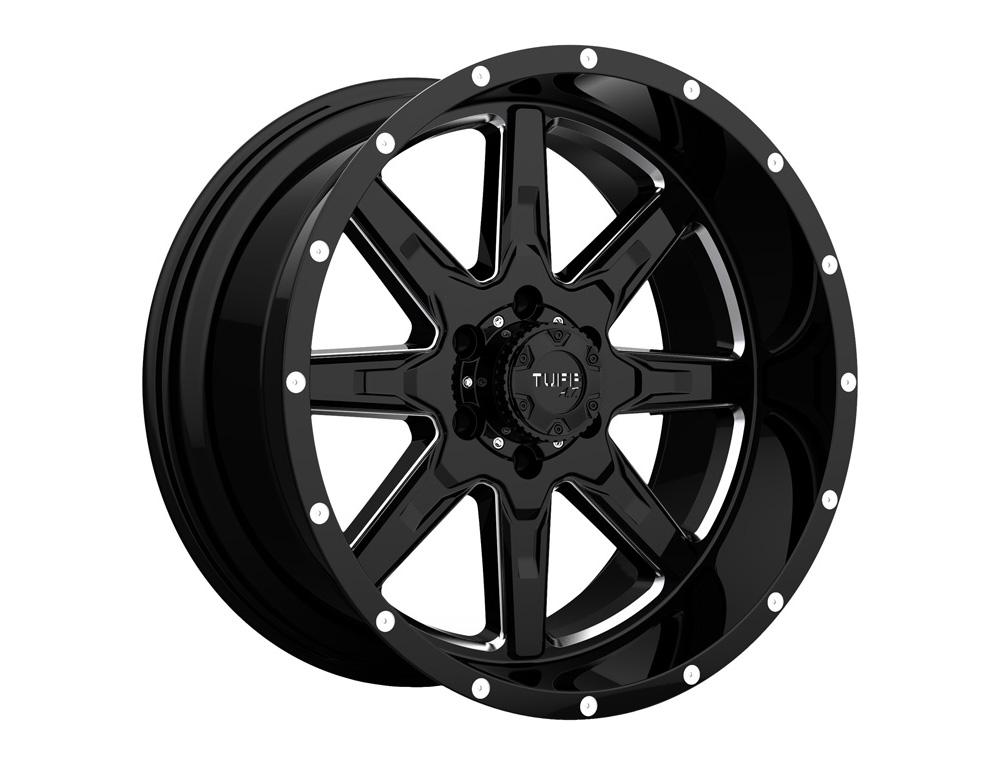 TUFF T-15 Wheel 22x10 6x139.70|6x5.5 5mm Gloss Black w/ Machined Face