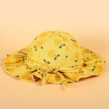 Toddler Girls Fruit Pattern Bow Bucket Hat