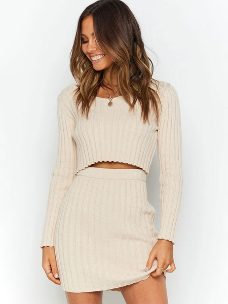 Milanoo Two Piece Sets Apricot Scoop Neck Long Sleeves Sexy Top With Skirt