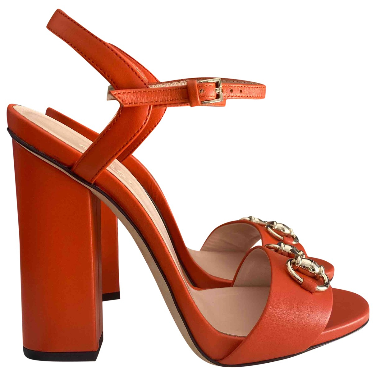 Gucci Double G Orange Leather Sandals for Women 36.5 EU