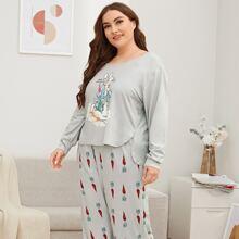 Plus Rabbit & Carrot Print Split Top & Pants PJ Set