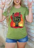 Presale - Cactus Rock Roll Graphic T-Shirt Tee - Green