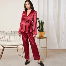 Maternity Self Belted Satin Top & Pants PJ Set
