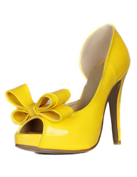 Milanoo Peep High Heels Women's Bow Detail Leather Stiletto Heels