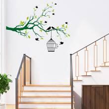 1 Set Wandaufkleber mit Vogel & Baum Muster