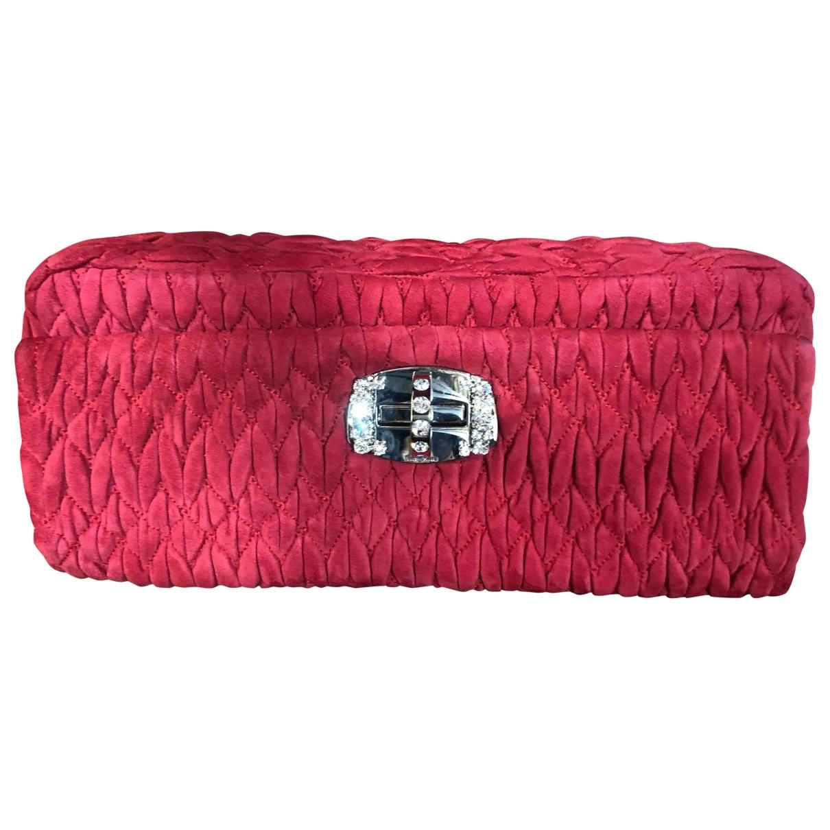 Miu Miu Miu Crystal Clutch in  Rot Veloursleder