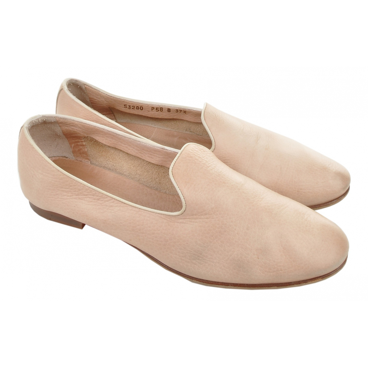 Santoni N Pink Suede Flats for Women 37.5 IT