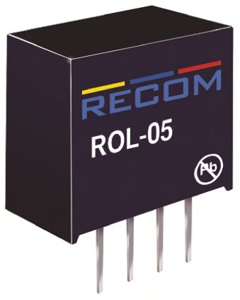 Recom ROL 0.5W Isolated DC-DC Converter Through Hole, Voltage in 4.5 → 5.5 V dc, Voltage out 12V dc