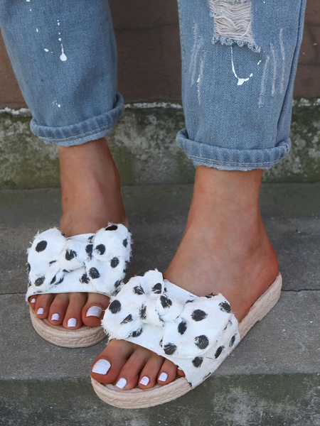 Milanoo Women Sandal Slides White Open Toe Polka Dot Bow Slip On Flat Sandals