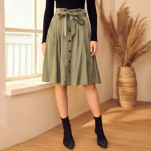 Paperbag Waist Buttoned Front Skirt