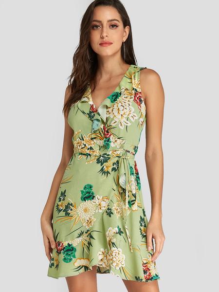 YOINS Green Random Floral Print Flounced Details Sleeveless Dress