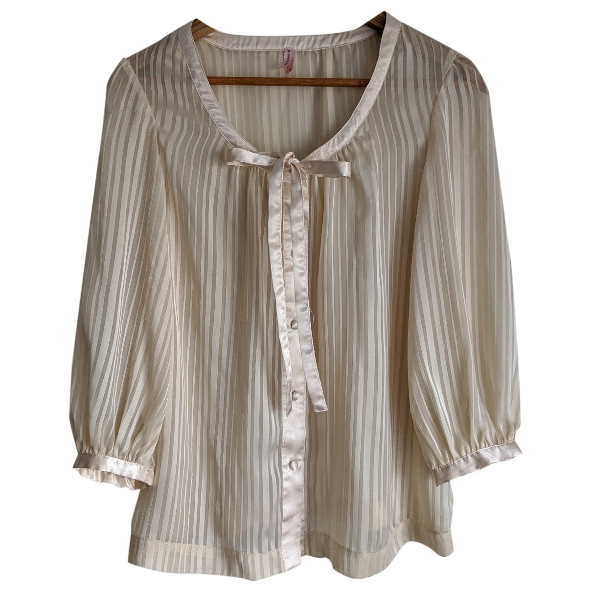 Non Signé / Unsigned Hippie Chic Beige  top for Women 8 UK