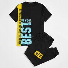 T-Shirt mit Buchstaben Grafik & Jogginghose Set mit Kordelzug auf Taille