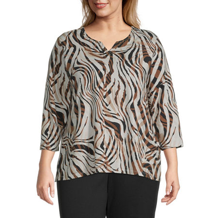 Alfred Dunner-Plus Classics Womens Crew Neck 3/4 Sleeve Knit Blouse, 2x , Beige