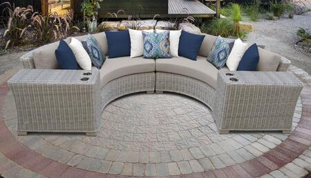 Coast Collection COAST-04c 4-Piece Wicker Patio Set with 2 Cup Tables and 2 Curved Armless Chairs - 1 Set of Beige