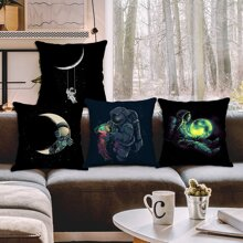 1pc Astronaut Print Cushion Cover Without Filler