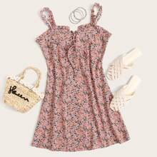 Lace Up Front Frill Trim Ditsy Floral Slip Dress