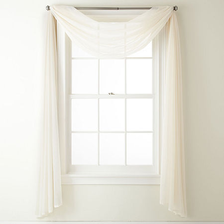 Home Expressions Lisette Sheer Scarf Valance, One Size , White