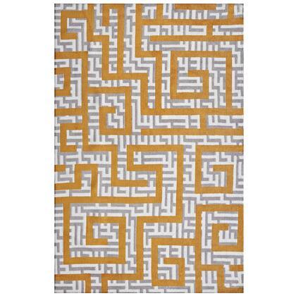 Nahia Collection R-1015C-810 Geometric Maze 8x10 Area Rug in Ivory  Light Grey and Banana Yellow