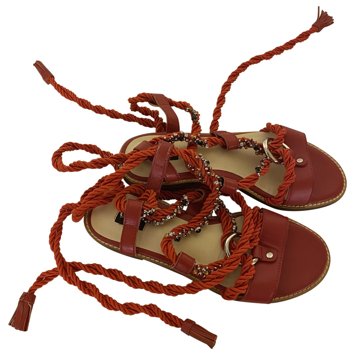 Pinko \N Red Leather Sandals for Women 38 EU