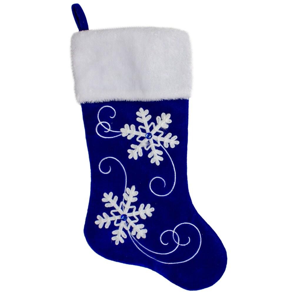 20.5-Inch Royal Blue Velvet and White Snowflake Christmas Stocking (Polyester)