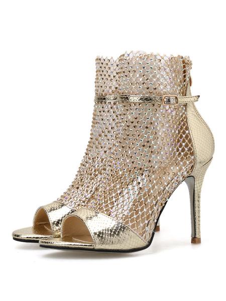 Milanoo Botines de sandalia para mujer Zapatos de sandalias de tacon alto con pedreria dorada