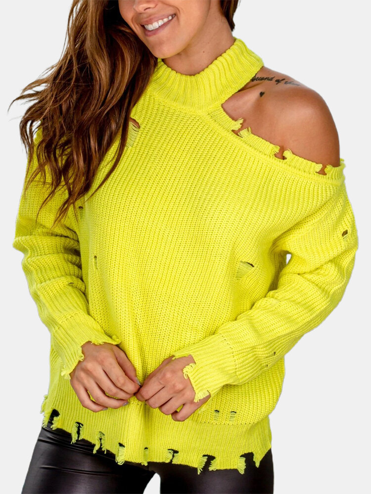 Solid Color Long Sleeve Off Shoulder Ripped Sweater For Women