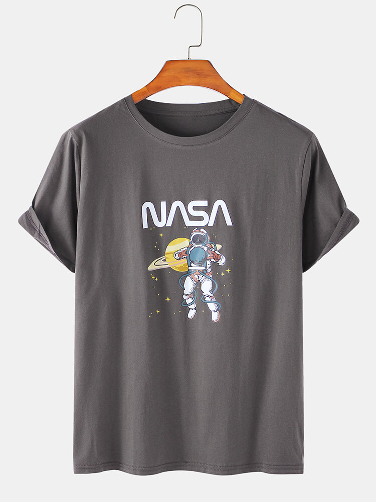 Mens Cotton Plain NASA& Astronaut Print Breathable Loose Light T-Shirts