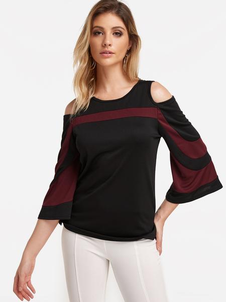 Yoins Black Stripe Cold Shoulder Long Sleeve Fashion Top