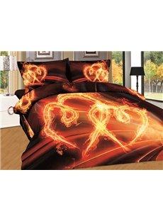 Pure Cotton Burning Heart Print 4-Piece Duvet Cover Sets