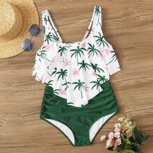 Bikini Set mit Kokosnussbaum Muster, Zipfelsaum und Ruesche