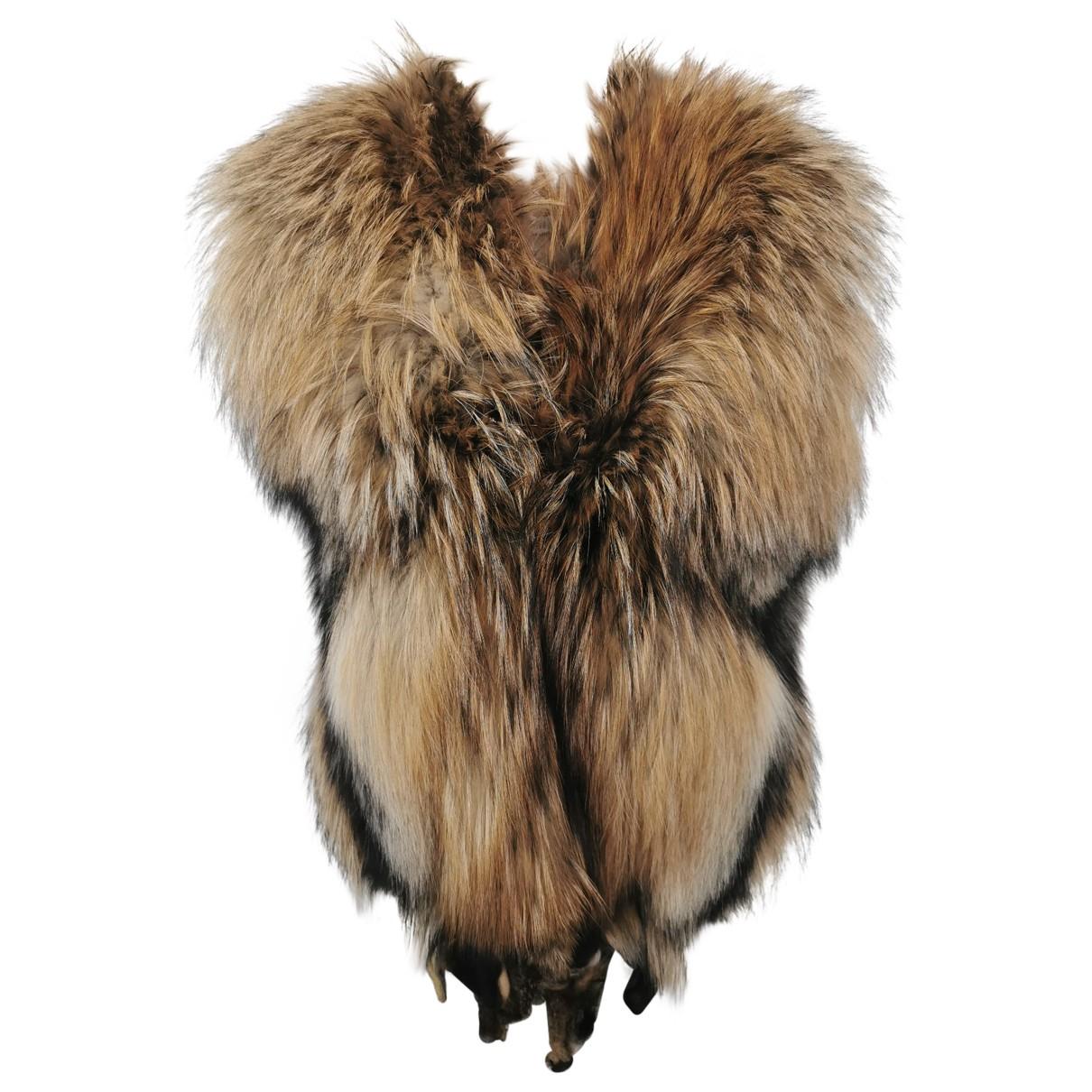 Manzari - Manteau   pour femme en renard - marron