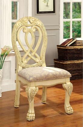 Wyndmere Collection CM3186WH-SC-2PK Set of 2 Side Chair with Traditional Style and Curved Claw Feet in