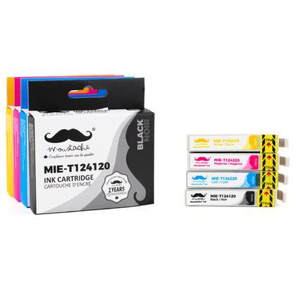 Epson 124 T124 cartouche dencre compatible combo BK/C/M/Y - Moustache®