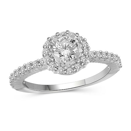 Womens 1 1/2 CT. T.W. White Cubic Zirconia Sterling Silver Engagement Ring, 6 , No Color Family
