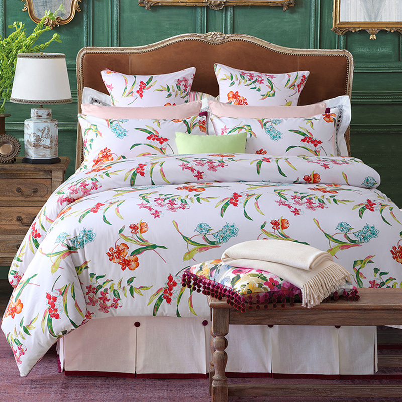 Floral Duvet Cover Set Four-Piece Set Reactive Printing Polyester Bedding Sets 2 Pillowcases Fitted Sheet Twin Full Queen King