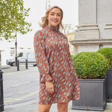 A-Linie Kleid mit Paisley Muster und Halsband