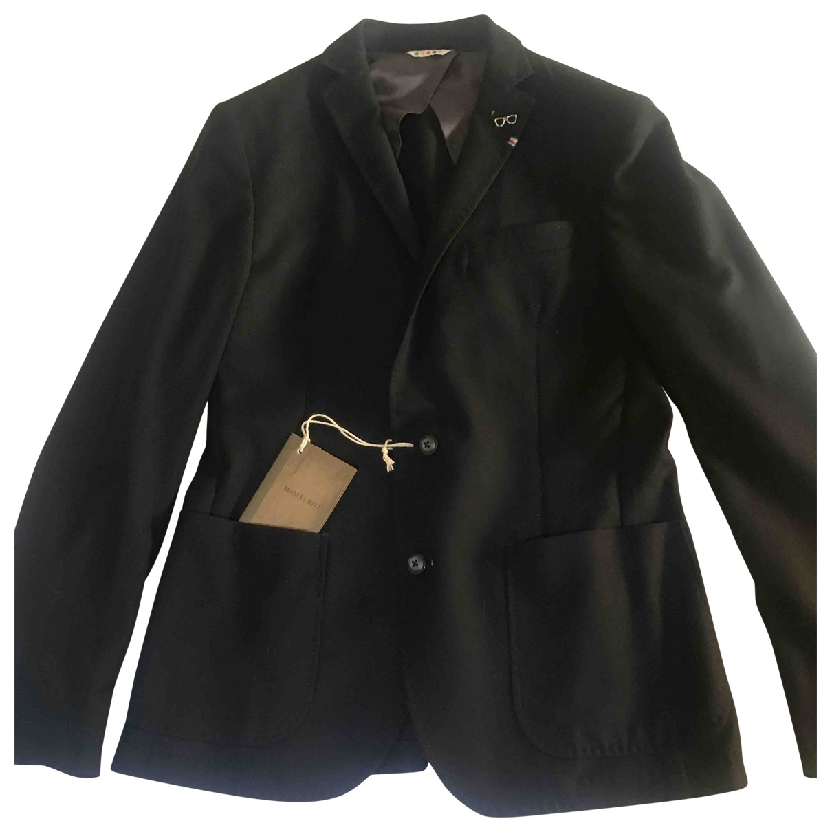 Manuel Ritz - Vestes.Blousons   pour homme en laine - noir