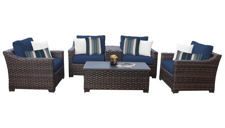 RIVER-06a-NAVY Kathy Ireland Homes and Gardens River Brook 6-Piece Wicker Patio Set 06a - 1 Set of Truffle and 1 Set of Midnight