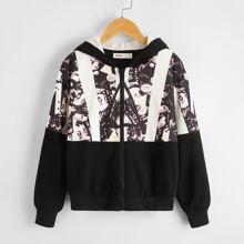 Jacke mit Grafik Muster, Kunstlammfell Einsatz, Reissverschluss und Kapuze