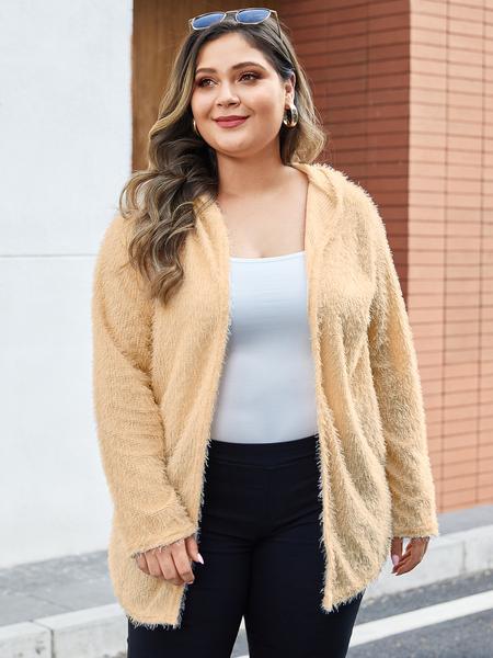 Yoins Plus Size Khaki Hooded Design Long Sleeves Coat