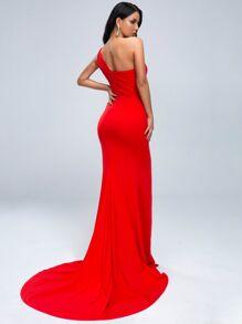 One Shoulder Split Thigh Cut-out Floor Length Dress