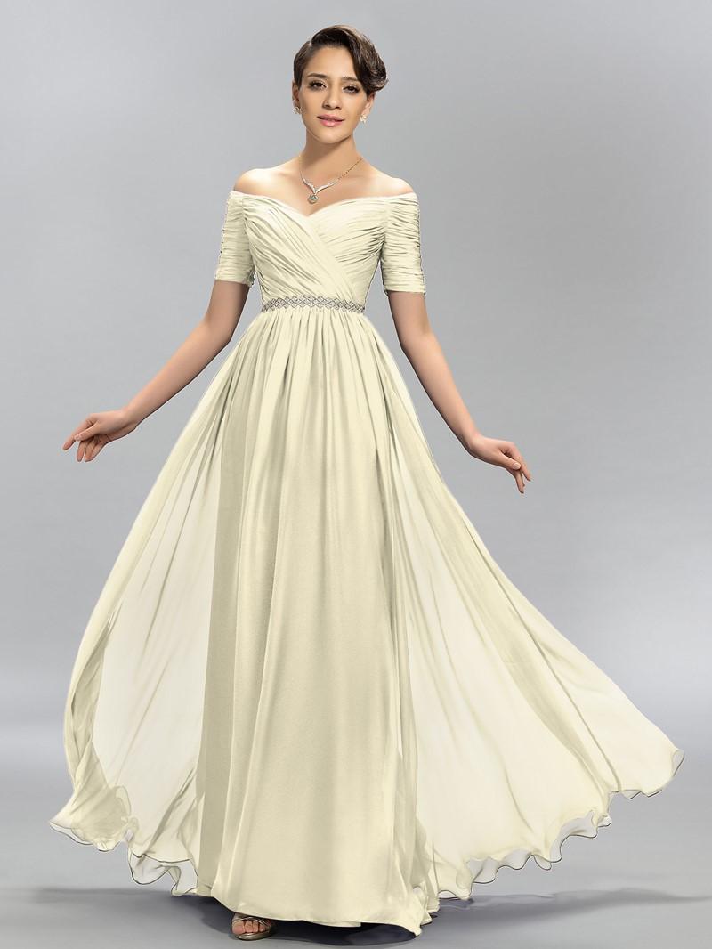 Charming A-Line Off the Shoulder Pleats Evening Dress