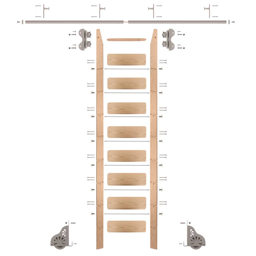 Standard Rolling 9-Foot Red Oak Ladder Kit with 8-Foot Rail and Vertical Brackets, Satin Nickel